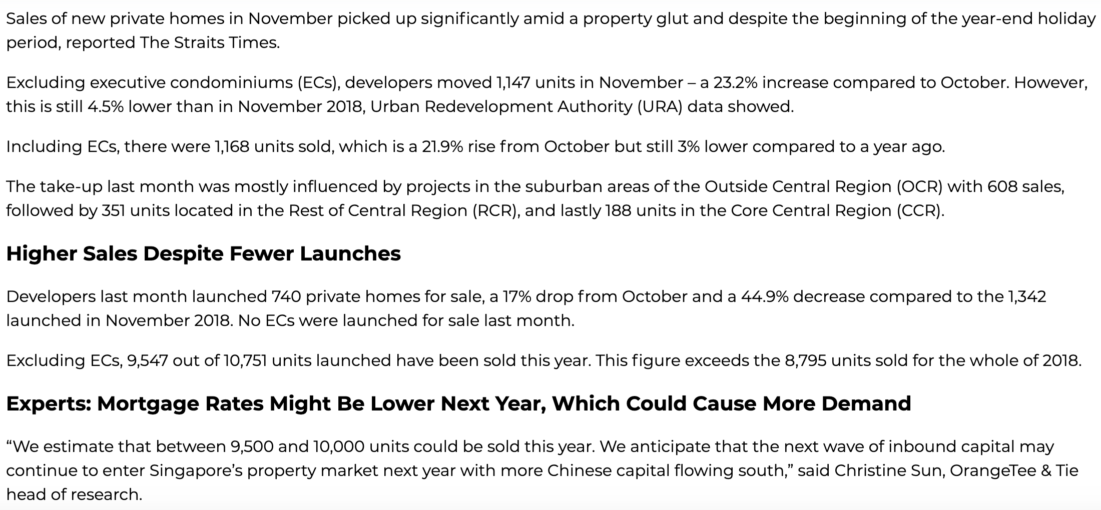 Higher Private Home Sales Recorded In November Despite Property Overhang page 1